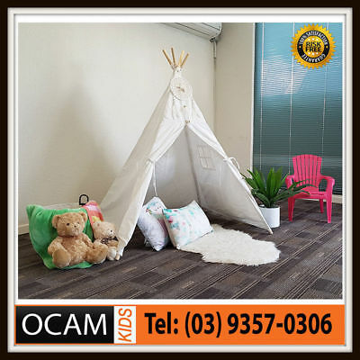 Kids Large White Cotton Canvas Play Tent Teepee Indoor Outdoor Tipi Tee Pee