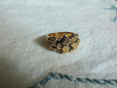 Beautiful Cocktail Ring Gold Tone Textured Signed 18KT HGE Size 8 UNIQUE
