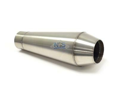 "12"" Performance Steel Core Muffler 2.5"" Reverse Cone Brushed Stainless 2-1/2"""