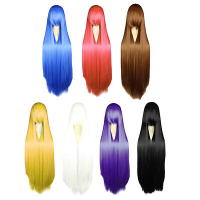 Women Fashionable 100CM Long Straight Synthetic Lolita Cosplay Party Wig AU