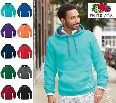 Fruit of the Loom Mens SofSpun Hooded Pullover Sweatshirt Hoodie SF76R Up to 3XL