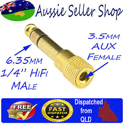 "Gold Plated 1/4"" 6.35mm Hifi Male to Aux 3.5mm Female Stereo Audio Adapter jack"