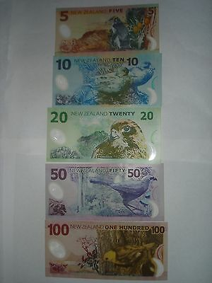 New Zealand $5,$10,$20,$50,$100 Dollar SUPERB GEM UNC Banknotes,1set 5 UNC Notes