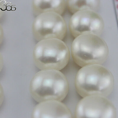 Natural 3A Grade White Button Freshwater Pearl Half Drilled 4-12mm Beads 20 Pcs
