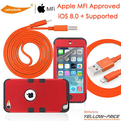 iPod Touch 6 5th Gen MFI Licenced Lightning Sync Data Cable+Slim Armor Case Film