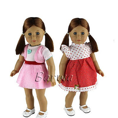 2 Pcs Handmade Cute Dress Clothes Outfits Lot for 18 Inch American Girl Doll