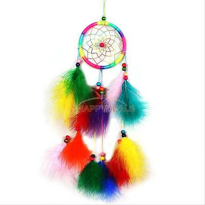Colorful Dream Catcher with Feathers Car Wall Hanging Decor Ornament Craft Gift