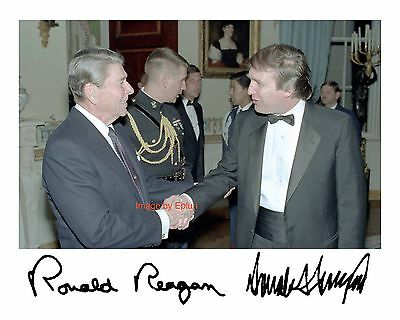 Donald Trump meets Ronald Reagan with Preprinted autographs 8x10 Photo