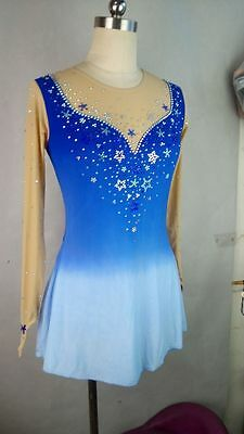 custom ice skating dress women competition blue clothing D664