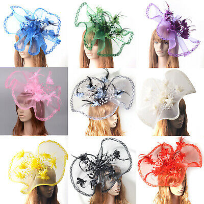 Handmade Large Women Hair Clip Flower Hat Casual Fascinator Millinery Party Gift