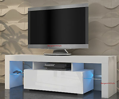 MODERN TV STAND TV UNIT 130 cm WHITE MATT AND WHITE HIGH GLOSS  FREE RGB LED
