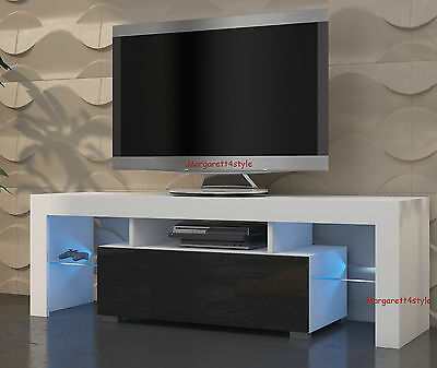 MODERN TV STAND TV UNIT 130 cm WHITE MATT AND BLACK HIGH GLOSS  FREE RG LED