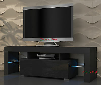 MODERN TV STAND TV UNIT 130 cm BLACK MATT BODY AND BLACK HIGH GLOSS FREE RGB LED
