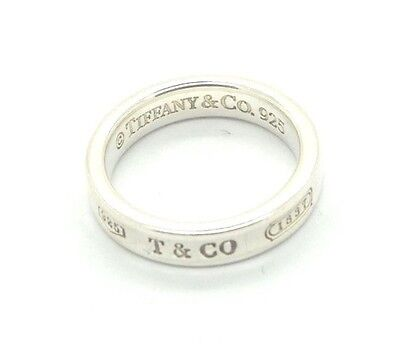 1837 TIFFANY & CO. 925 Sterling Silver Band Ring Size 4.5 Authentic Small Finger