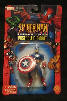 """Captain America 3"""" (Spider-Man & The Marvel Universe Poseable Die Cast Fig.)"""