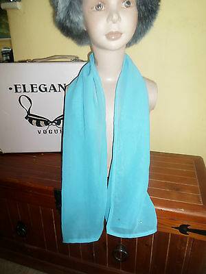 1 NEW Colourful Mixed Fibre Plain Sky Blue Ladies Scarf+Sequin  Gift Idea #86