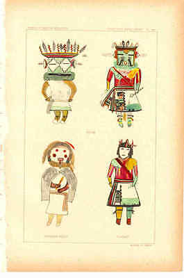 "Antique Prints - Hopi Kachinas - Late 1800's - ~7 x 11"" - Select 1 from Group"