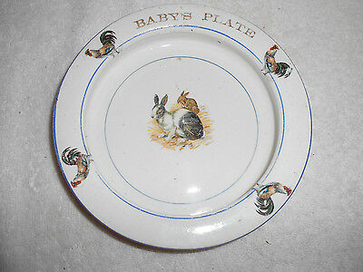 """Antique The Wellsville China Co Baby's Plate Heavy  Rabbit Rooster Motiff 7 3/8"""""""