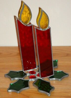 CHRISTMAS CANDLES w/Holly Stained Glass Decoration (maybe Napkin Holder)