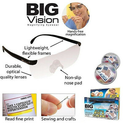 Super Vision Hands Free MAGNIFYING GLASSES EYEWEAR -Fits Over Spectacles +160%