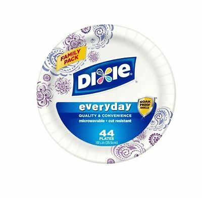 Dixie HD Round Everyday White Paper Plates, 10 1/16 Inches, 44 Count (Pack of 5)
