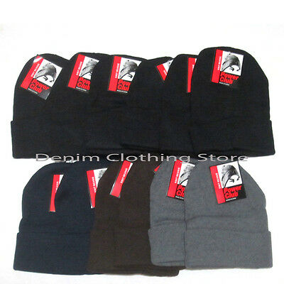 12pcs Men Women Power Club Dark Beanies Winter Hats Cuff Acrylic Ski Skull Lot