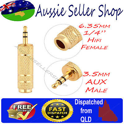 "Gold Plated 1/4"" 6.35mm Hifi female to Aux 3.5mm male Stereo Audio Adapter jack"