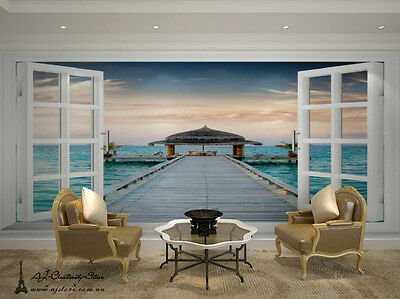 3D Seaview window 647 Wall Paper Wall Print Decal Wall Deco wall Mural Home Kids