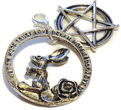 Blessing Amulet for Fertility and Abundance. Wicca Hare and Pentagram Talisman.