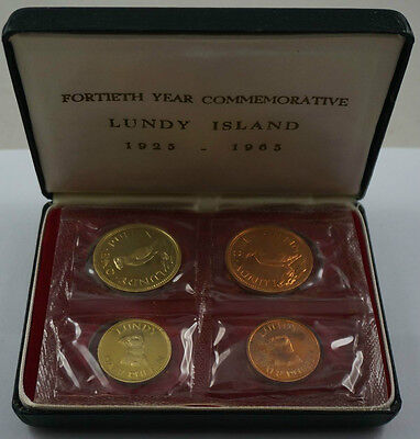 LUNDY ISLAND 4 Coins 1965 Proof Set Brass/Copper Puffin