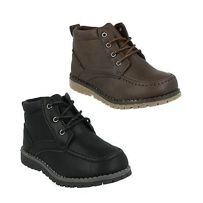 N2040 Boys Jcdees Brown Black Lace Up Formal Tread Detail Sole Shoes Boots