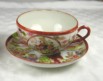 Japan Porcelain Cup & Saucer - Hand Painted - House Scene