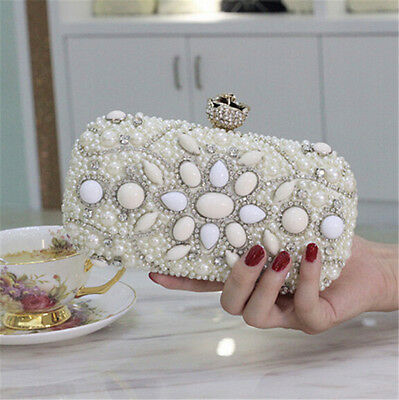 Women Fashion Evening Clutch Bag Wedding Bridal Handbag Beaded Purse Hard Wallet