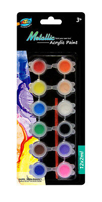 10 x Metallic Acrylic Paint Set 12 Metallic Colors 2ml Great for Kids Artwork