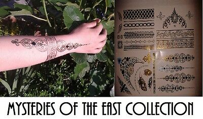4 x Eastern Jewellery inspired flash temporary tattoo body art Christmas present