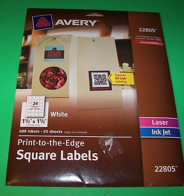 "Avery 22805 White Laser/Inkjet specialty square Labels 1 1/2"" X 1 1/2"" 600 Pk"