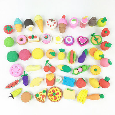 12pcs Novelty Food Fruit Vegetable Erasers Rubbers Gift Party Bag Gift Fillers