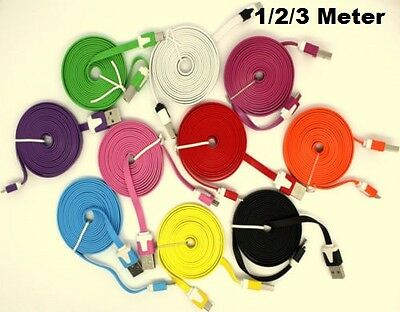 Extra Long Flat Noodle Micro USB Charger Cable For SamSung HTC LG, 1m 2m 3m