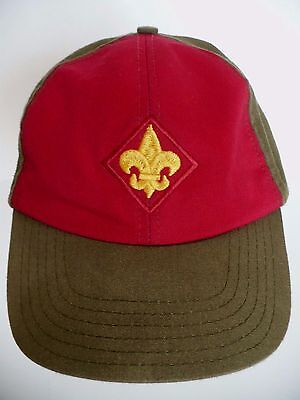 Boy Scouts Olive Drab & Red Twill Fleur-De-Lis Patch Hat Cap Size M/L. USA
