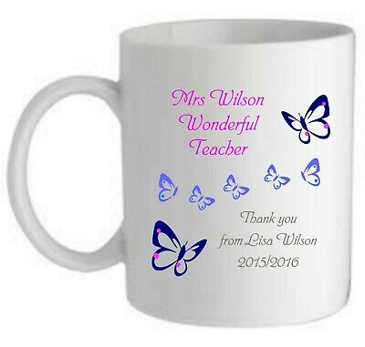 Personalised Wonderful Butterfly Teacher  Mug/coaster End Of Term Thank You Gift