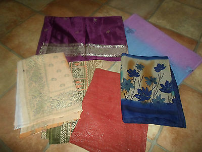 6 NEW Colourful Pretty Mixed Fibre Scarves Asian Pakistani Short Duppata  #2
