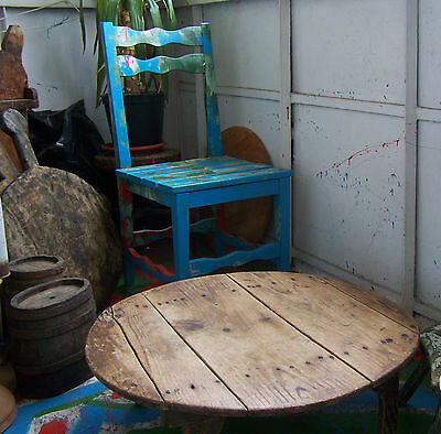 """27""""  >  19thC  ANTIQUE primitive wooden  low Round Dining Table .... /5/"""
