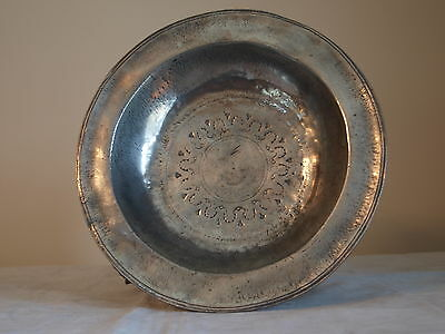 Antique Rare German Pewter Bowl, Sabastian Friedrich, Landsberg. Circa 1680.