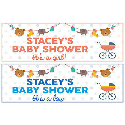 2 PERSONALISED BABY SHOWER BANNERS 800mm x 297mm - BOY OR GIRL