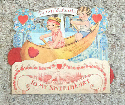 Vintage VALENTINE Greeting Card 1930s Multi-layer Fold out Honeycomb Large CANOE