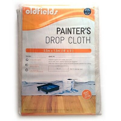Drop Sheet/Pack of 5 Oldfields Pro Series Painter's Drop Cloth - 5.5m x 1.52m