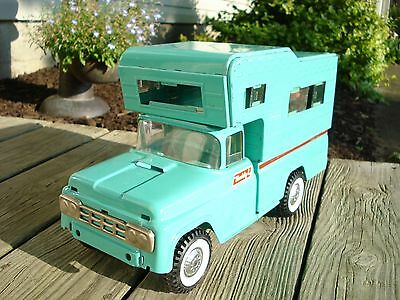Vintage Buddy L Pressed Steel Ford Pick Up Truck Camper All Made Of Steel Aqua