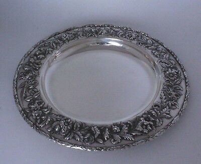 """Sterling Silver Entree Server Tray by S. Kirk & Son Repousse Hand Chased 13""""w"""