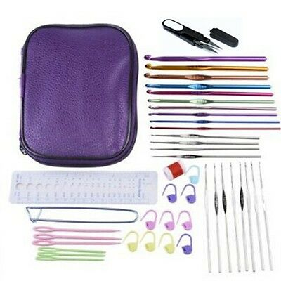 New Hot Selling Leather Case 22pcs crochet Hooks and 20pcs Accessories AU