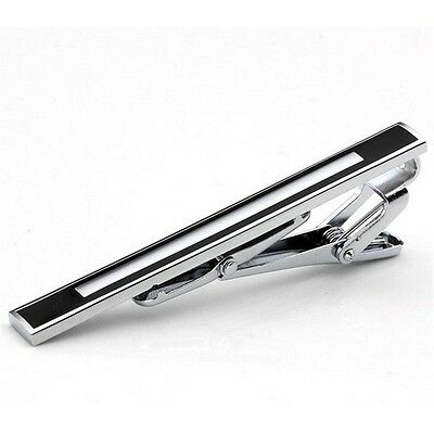 Fashion Gentleman Slim Collar Black-Ended Stainless Steel Tie Clip Silver AU